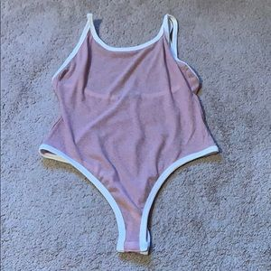 Mauve pink shear ribbed body suit